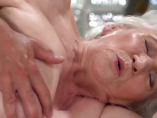 A nasty old granny is fucked on the side by a dude really unending