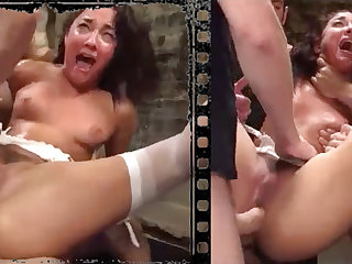 Messy stunner plowed xxx with five hefty penises!