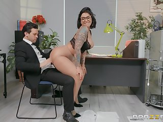 Sexy secretary Devon Lee enjoys sex with her associate upon her office