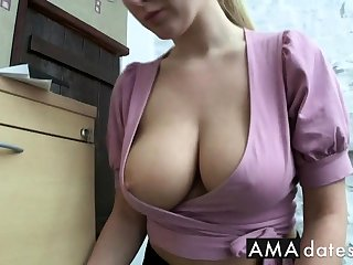 office employee downblouse