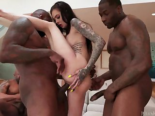 Hardcore interracial group sham with Marley Brinx