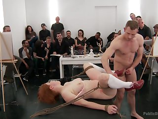 Extreme BDSM fetish in kinky orgy be required of be imparted to murder redhead