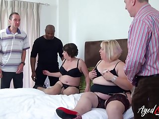 Fat whore Trisha has invited chubby old bitch to action on twosome cocks