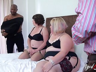 Group trash porn video featuring two big aged housewives in sexy outfits