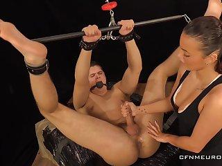 Sexy dominatrix Lucy Vojak fucks anal hole of duteous boyfriend