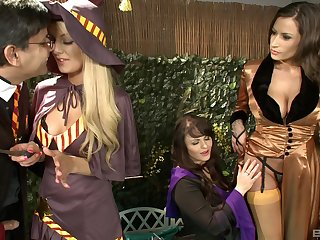 Busty women share dick added to fulfill their fantasies in kinky posture