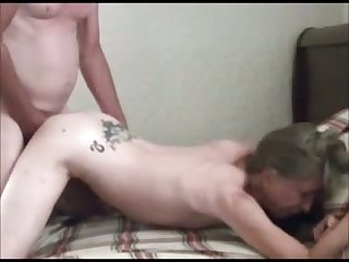 My old fellow fucks his wearying chested tattooed old wife