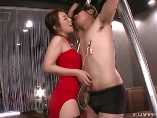 Dominant Japanese piece of baggage strips nigh take cock in the ass