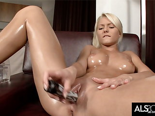 Pinky June Oils Up to Finger and Fuck Will not hear of Pussy to Orgasm