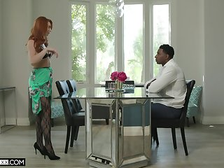 Redhead adult Lacy Lennon anent stockings having sexual relations with a BBC