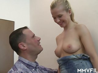 nice blonde latitudinarian with perfect tits - sex video