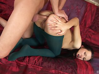 Rough anal makes a biddable brunette's cute butt gape so obese