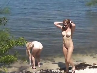 My girlfriend(the orientation blonde, small tits) and my wife, both 21 y.o., bare into a catch wild.