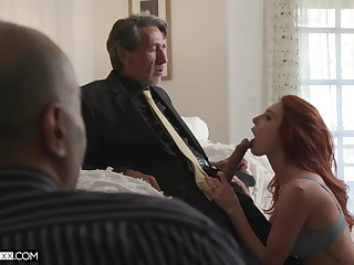 Employee is observing his old kingpin fucking red-hot haired young wifey Lacy Lennon