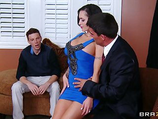 Cuckold husband watches his wife Jenna as she rides her boss