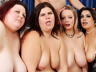 Four Profligate Plumpers Reverse Gangbang a Lucky Long Dicked Man