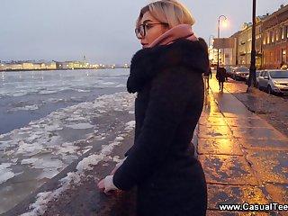 Picked up outdoors Russian blonde girl in glasses enjoys random lovemaking