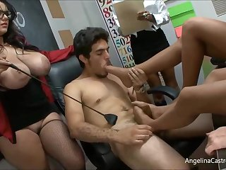 Angelina is a big titted teacher who likes forth have casual orgies with her students