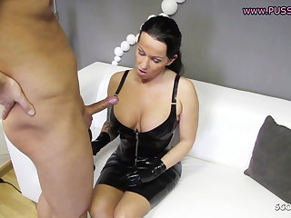 Femdom Blow and Handjob non-native German MILF, Latex Domina, Mommy