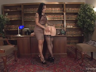 Ingrid Indiscretion gets her pussy pounded in many poses by boom box TS Foxxy
