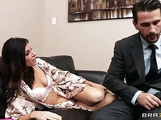Office fucking on the sofa ends all round facial of India Summer