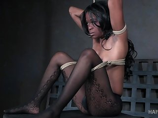 Buxom black hottie Breath Cummings is made be advisable for wild BDSM fun