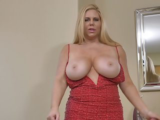 Voluptuous MILF Karen Fisher has humongous boobs and she loves masturbating