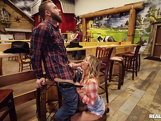 Chesty cowgirl Alexis Fawx meets an alluring avant-garde mate
