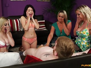 CFNM action leads charming women to insane cock sharing porn