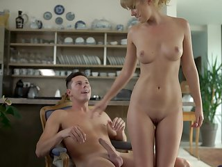 Luscious blondie Casey gets licked and fucked first of all the table