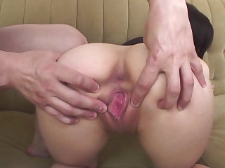 Arisa nakano bends over for an anal toy fucking