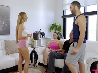 Cock hungry hottie Moka Mora rides a dick in front of say no to friends